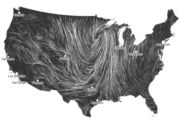 باد, آمریکا, نقشهی باد