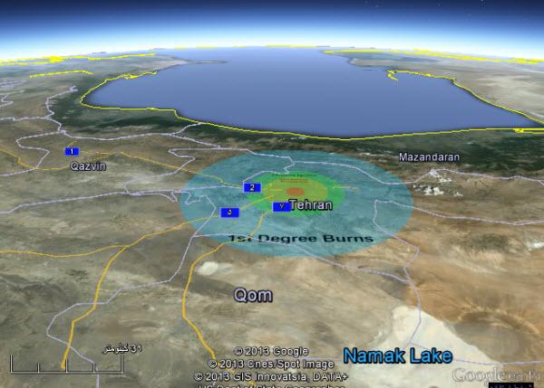 نقشه برخورد شهاب سنگ احتمالی و میزان خسارت