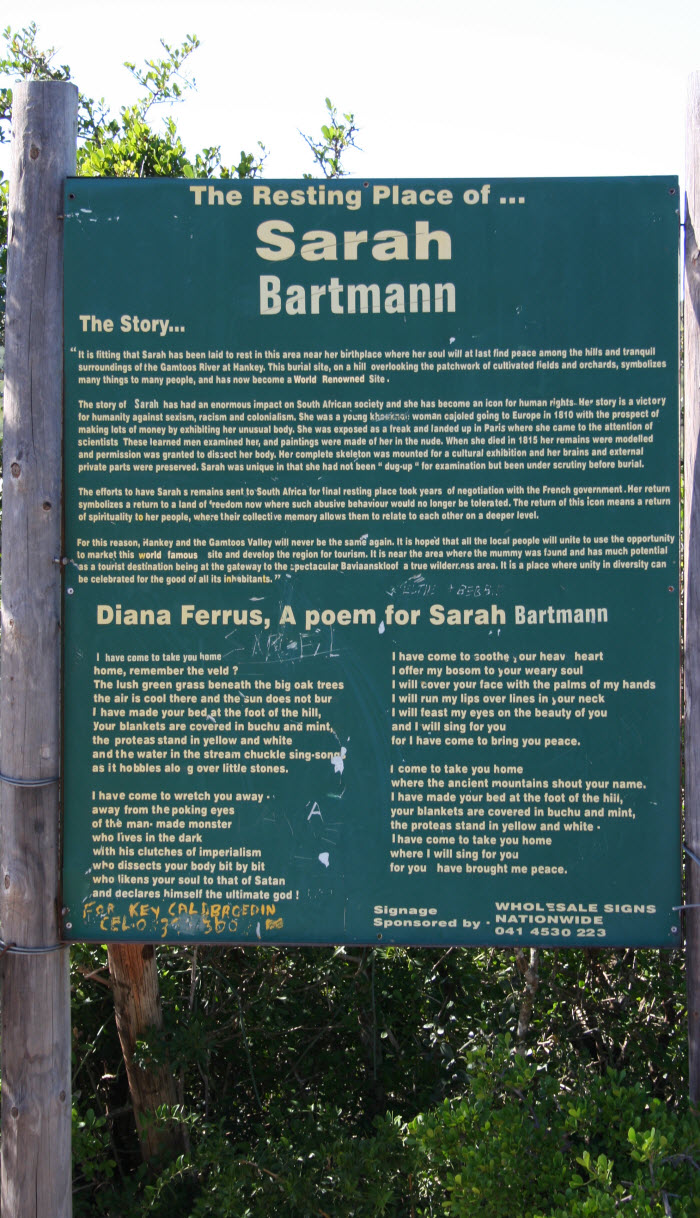 South_Africa-Hankey-Signboard_at_Sarah_Baartmans_grave