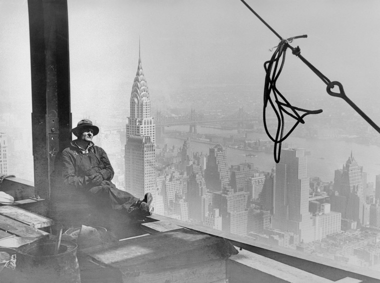 Steel Worker Resting While Building Frame of Empire State Building
