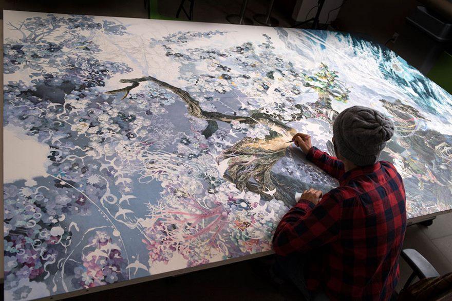 هنرمند ژاپنی برای به تصویر کشیدن راز استواری ژاپنیها، به مدت سه و نیم سال، روزانه ۱۰ ساعت کار کرد تا این اثر قابل تحسین را بیافریند!