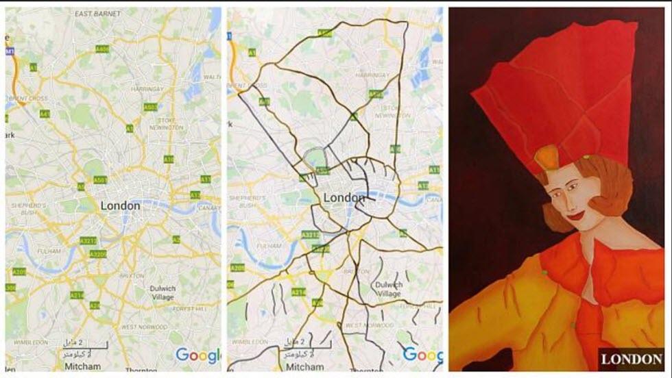 هنرمند رشتی که روی زمینه نقشه گوگل از شهرهای جهان، نقاشی هایی متناسب و زیبا می کشد