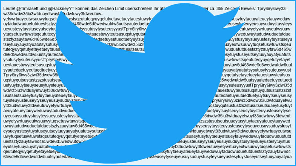 دو کاربر با استفاده از یک باگ توییت ۳۵ هزار کارکتری پست کردند