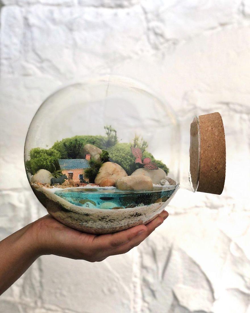 خلق اکوسیستمهای کوچک و فانتزی و زیبا در بطریها ظروف شیشهای کوچک